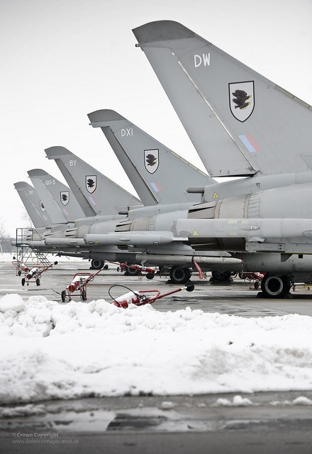 Royal Air Force Typhoon aircraft from 11 Squadron (Sqn) are lined up ready to depart for the United States of America and Exercise Red Flag.