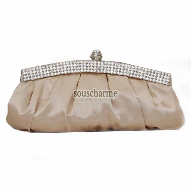 Pochette soirée champagne en satin rehaussé de strass pochette portefeuille femme sac à main vintage pas cher