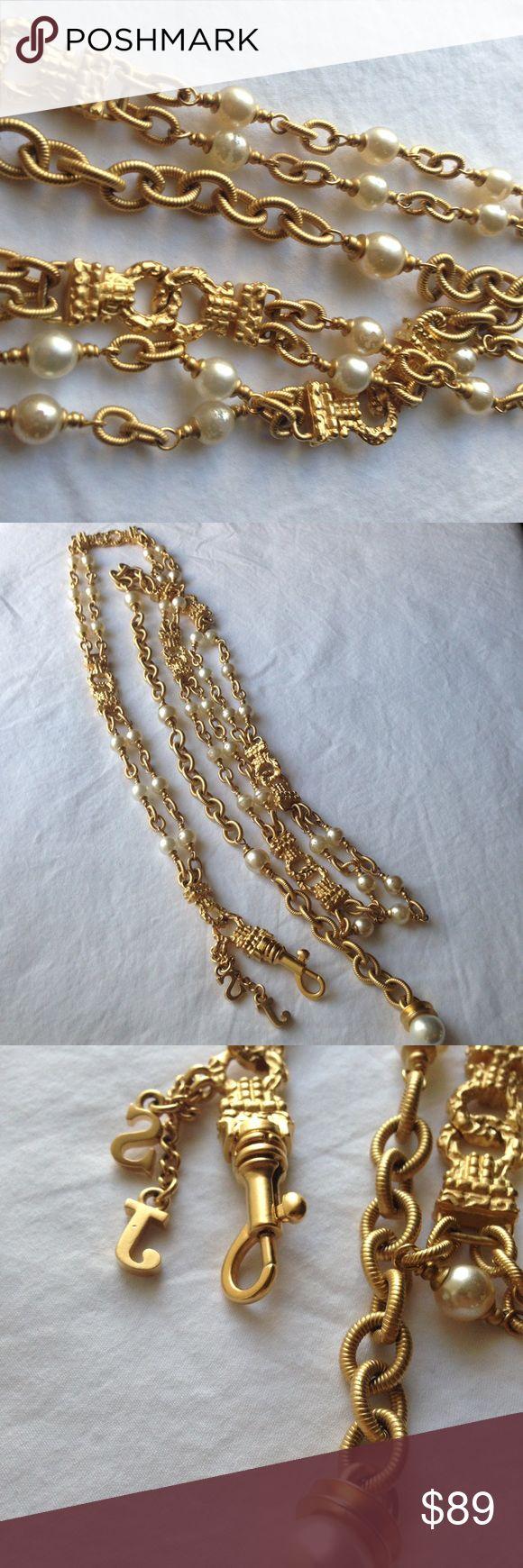 St. John belt St. John pearl gold tone chain belt little bit of wear and tear on few pearls St. John Accessories Belts