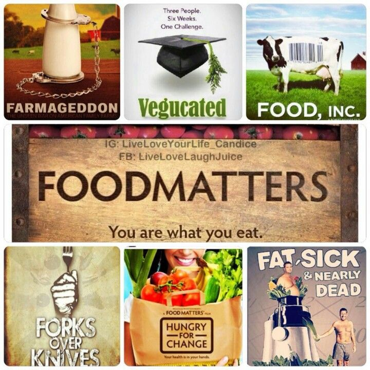 Must Watch Documentaries   They are available on Netflix and YouTube  IN RANDOM ORDER 1. Farmageddon 2.Vegucated 3.Food Inc 4.Food Matters 5.Forks Over Knives 6.Hungry For Change 7.Fat Sick & Nearly Dead