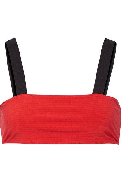 Rochelle Sara - The Michelle Striped Bandeau Bikini Top - Red