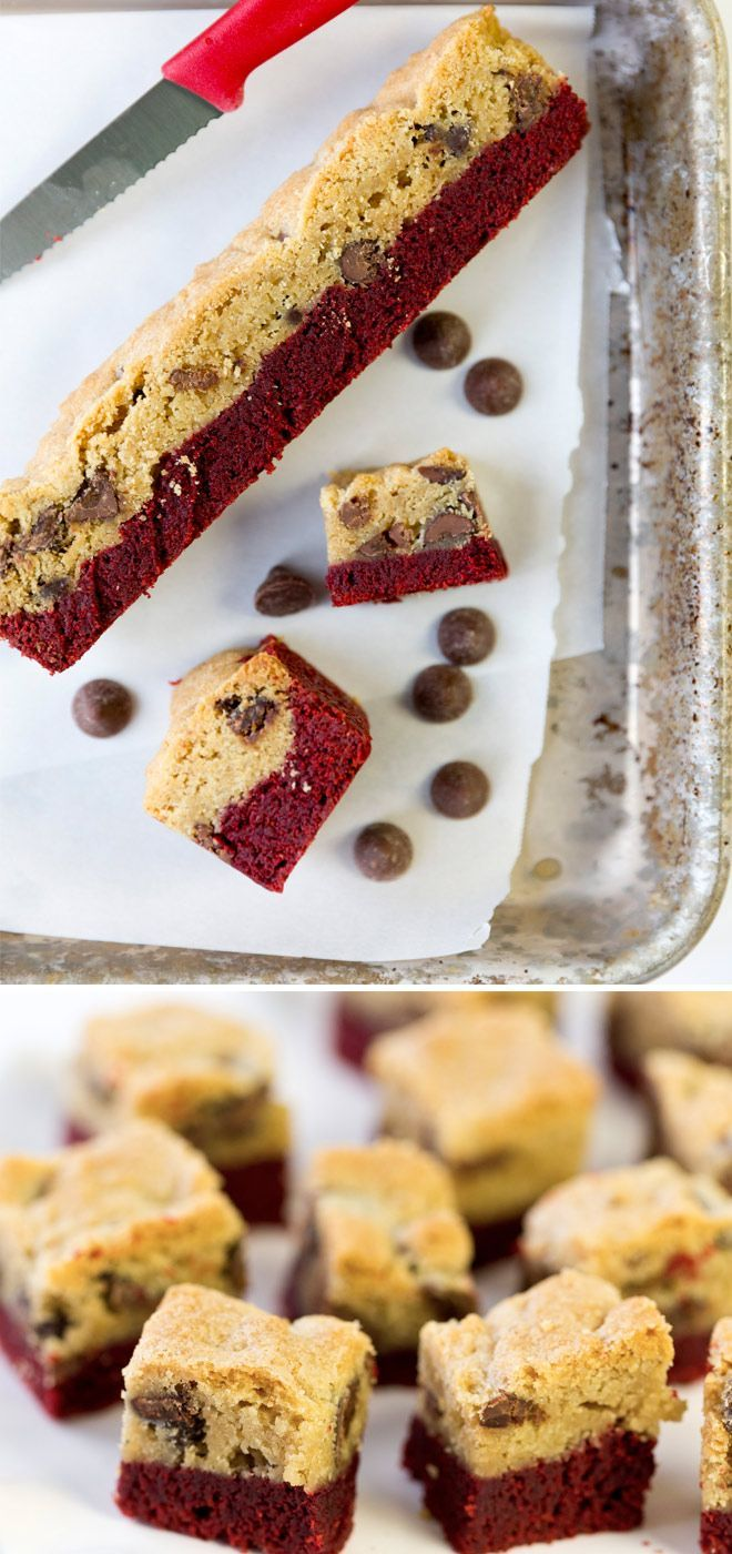 Red Velvet Chocolate Chip Cookie Bars from http://Pizzazzerie.com - SO good!
