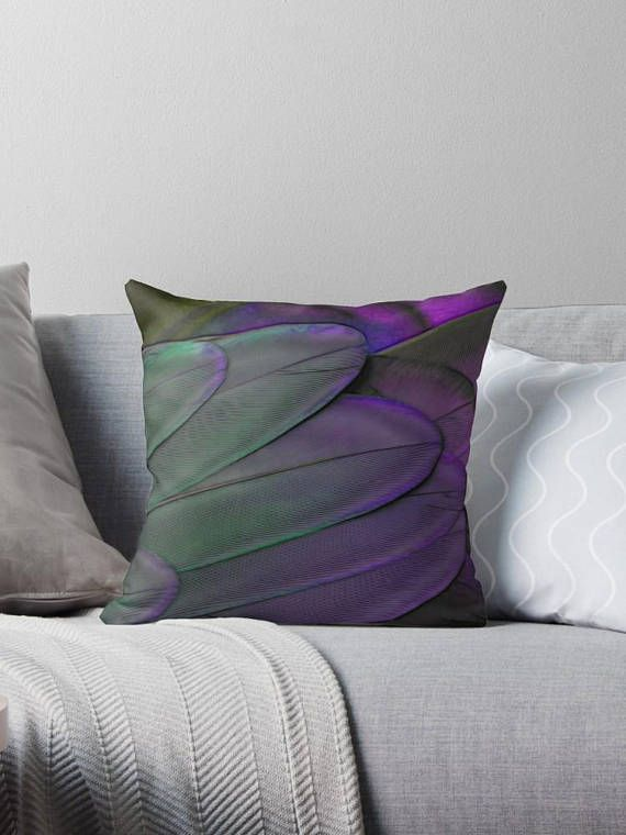green/purple feather / throw pillow Coussin déco 46 cm
