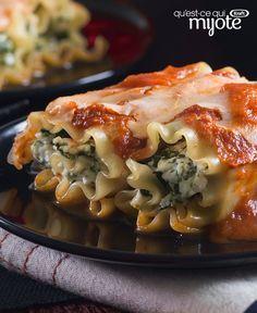 Mini rouleaux de lasagne aux épinards #recette