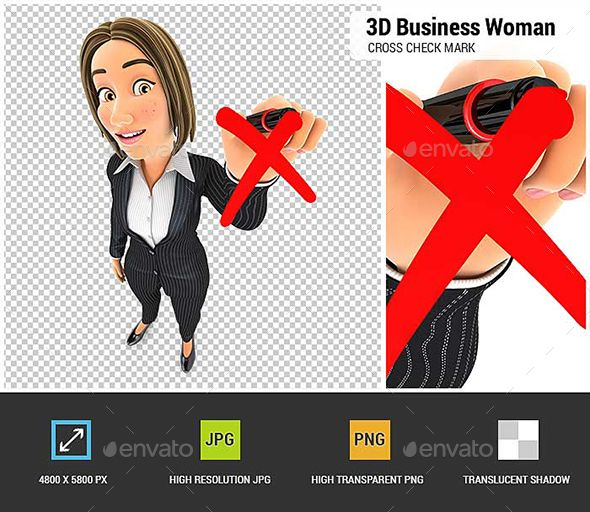 3d Business Woman Drawing Red Cross Check Mark Woman Drawing Business Women Red Cross