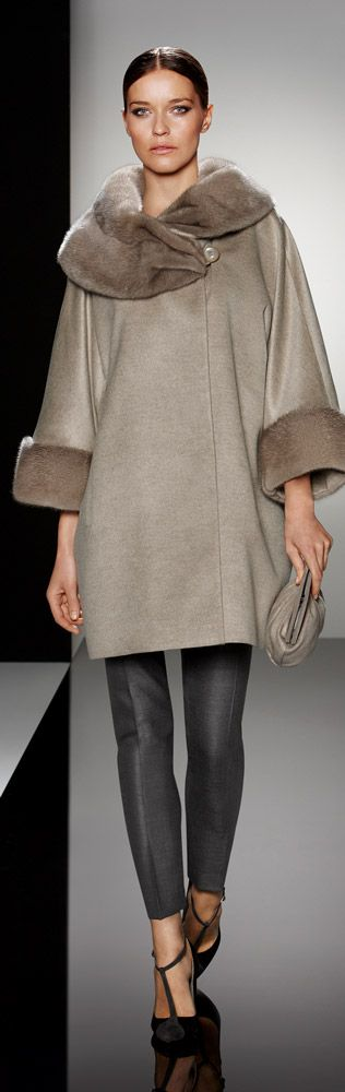 Cinzia Rocca | Fall 2013 Beautiful neutral color, would make the collar flip up into a hood. Oh, and completely reversible.