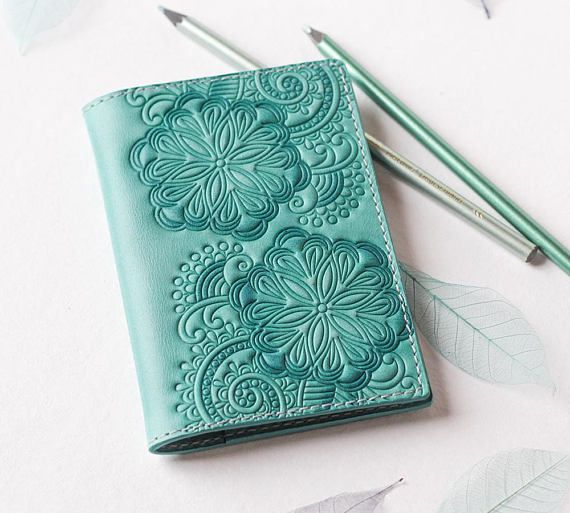 Light Turquoise Leather Passport Cover Holder Travel wallet