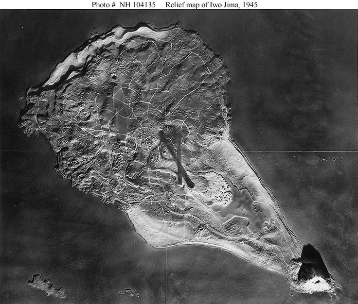 """Relief Map of Iwo Jima --- U.S. Navy carrier pilots were briefed for their strikes against Iwo Jima through the use of detailed relief maps such as this one"" Quoted from the original photo caption, filed 6 April 1945"