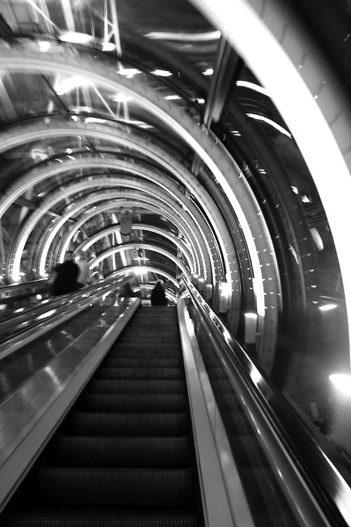 Centre Pompidou - Paris. Escalator Mia uses to meet Ansel at Restaurant Georges in the Centre Pompidou