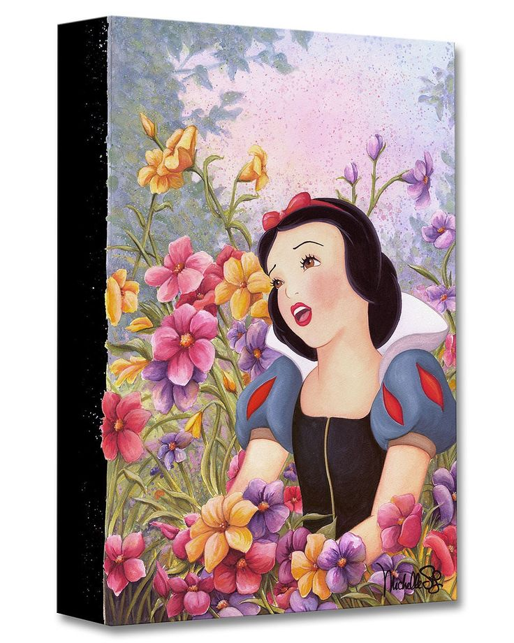 Snow White and the Seven Dwarfs - Love in Full Bloom - Gallery Wrapped - Michelle St. Laurent - World-Wide-Art.com - #disney #michellestlaurent #disneytreasuresoncanvas #gallerywrapped #snowwhite