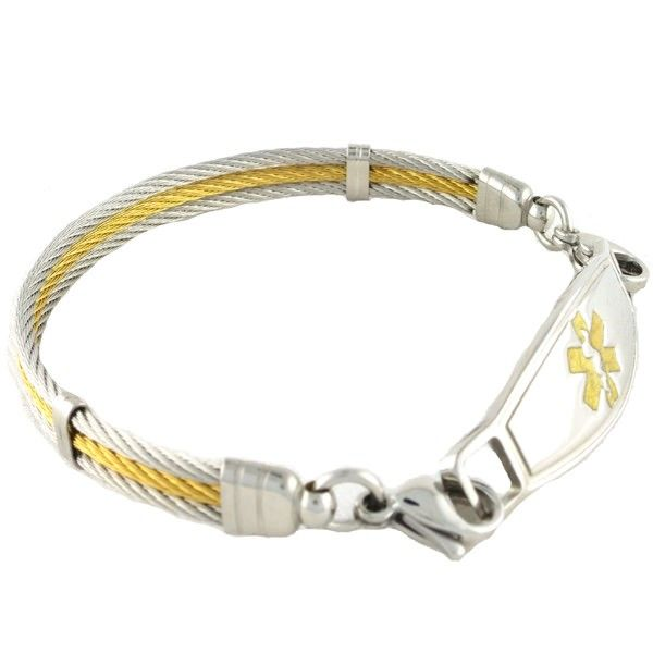 The stainless steel triple two-tone medical bracelets are a new current look from N-Style ID.  This cable bracelet will go perfectly with your gold and silver jewelry.