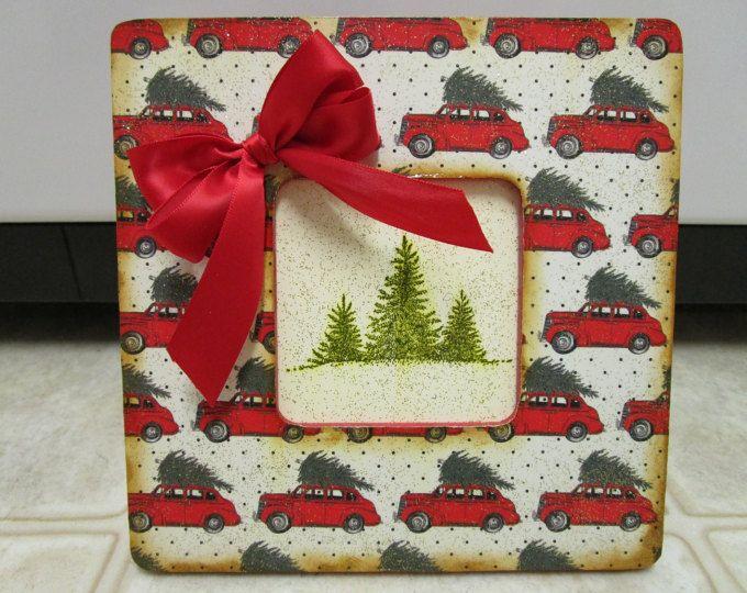 Árbol de Navidad coche foto marco Navidad Retro decoración Navidad decoración