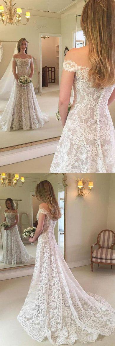 Fabulous White A Line Lace Off-the-shoulder Long Beach Wedding Dresses, SW244