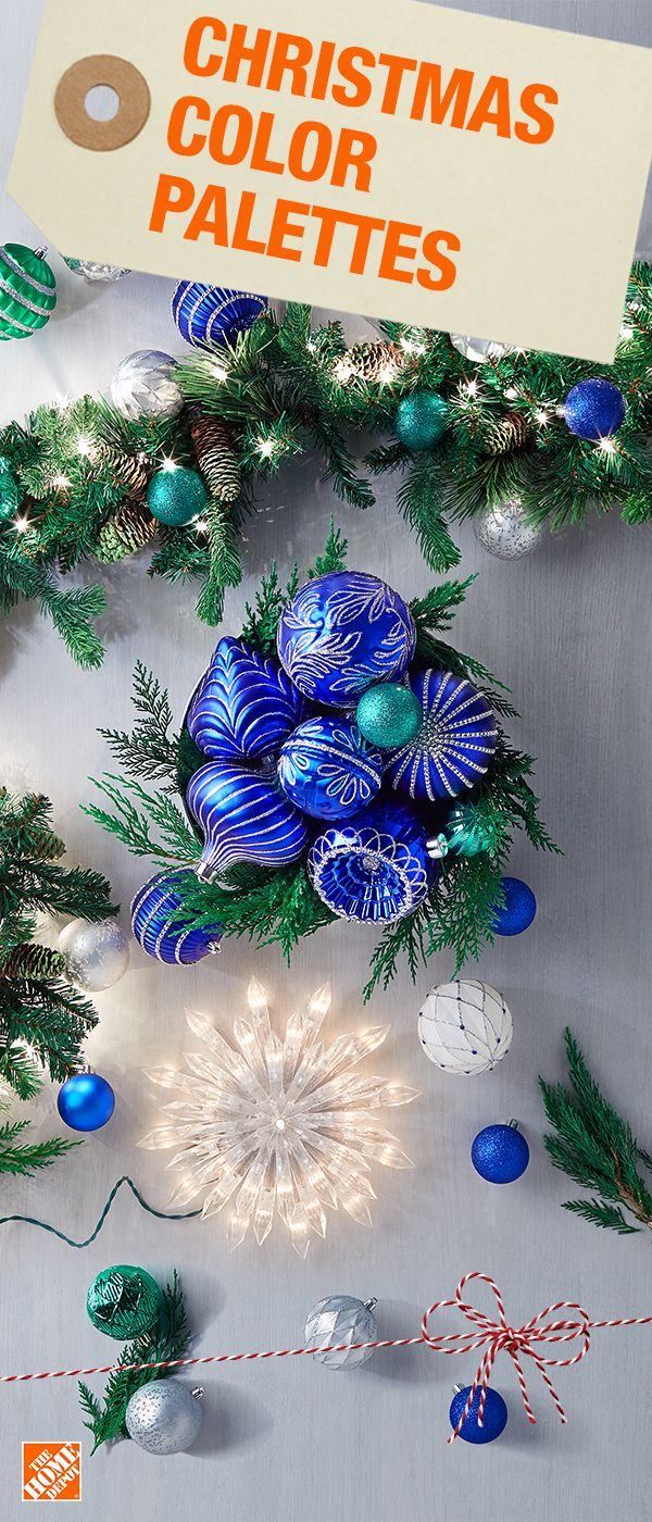 Spruce up your home for the holidays with cool tones and bring the outside in with your own version of a beautiful winter wonderland. Create a colorful and modern Christmas palette by using blue, green and silver decorations for a fresh and festive new look. Click to shop Christmas decorations.
