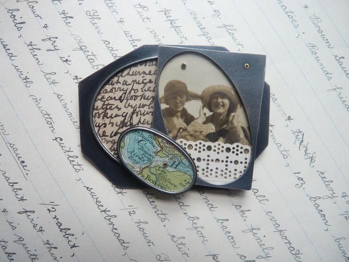 Clare Hillerby - brooch Walthamstow to Birmingham - silver, paper, perspex, gold, blue green map