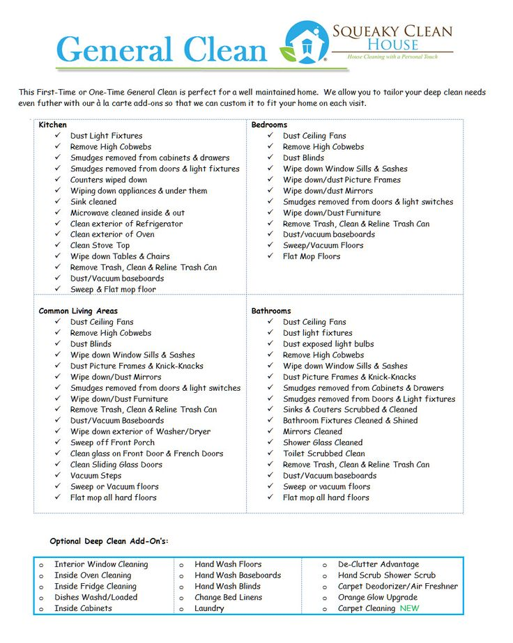 General clean image deep cleaning checklist clean house