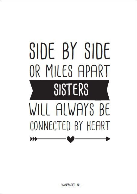 Side by side or miles apart. #Sisters will always be connected by #heart - Buy…
