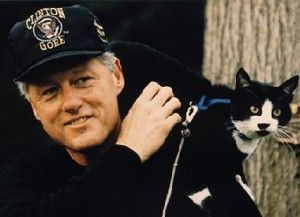 Bill Clinton and Socks, who passed away on  passed away in February 2009 at the age of 20 of throat cancer.