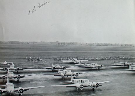 This photo identified only as C.O's Parade (Commanding Officer's Parade) shows the large number of aircraft and personnel at RCAF Centralia, Ontario, a British Commonwealth air training base in World War Two. For more: www.elinorflorence.com/blog/rcaf-women-photographer