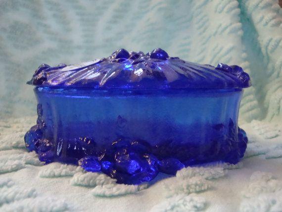 FREE SHIPPING Fenton Cobalt Blue Trinket Box by NotTooShabbyByCamy:):