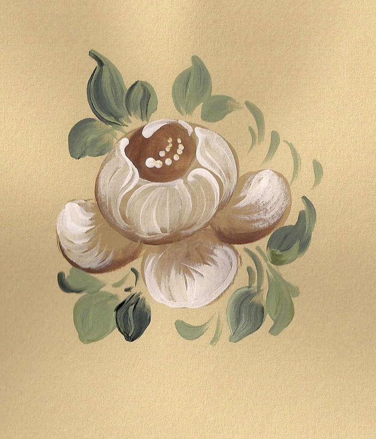 White Baroque Rose Bauernmalerei, Decorative Painting Online Art Classes
