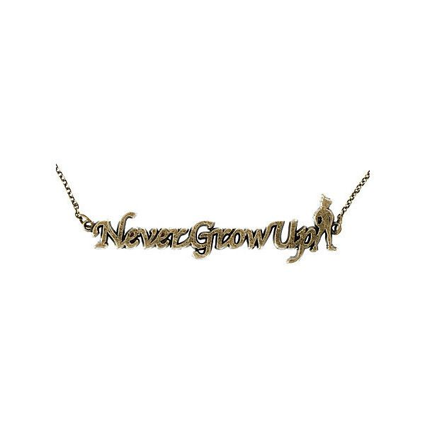 Disney Peter Pan Never Grow Up Necklace | Hot Topic ($8.50) ❤ liked on Polyvore featuring jewelry, necklaces, accessories, gold, hot topic, yellow gold jewelry, disney, disney jewelry, gold peter pan collar necklace and gold jewellery