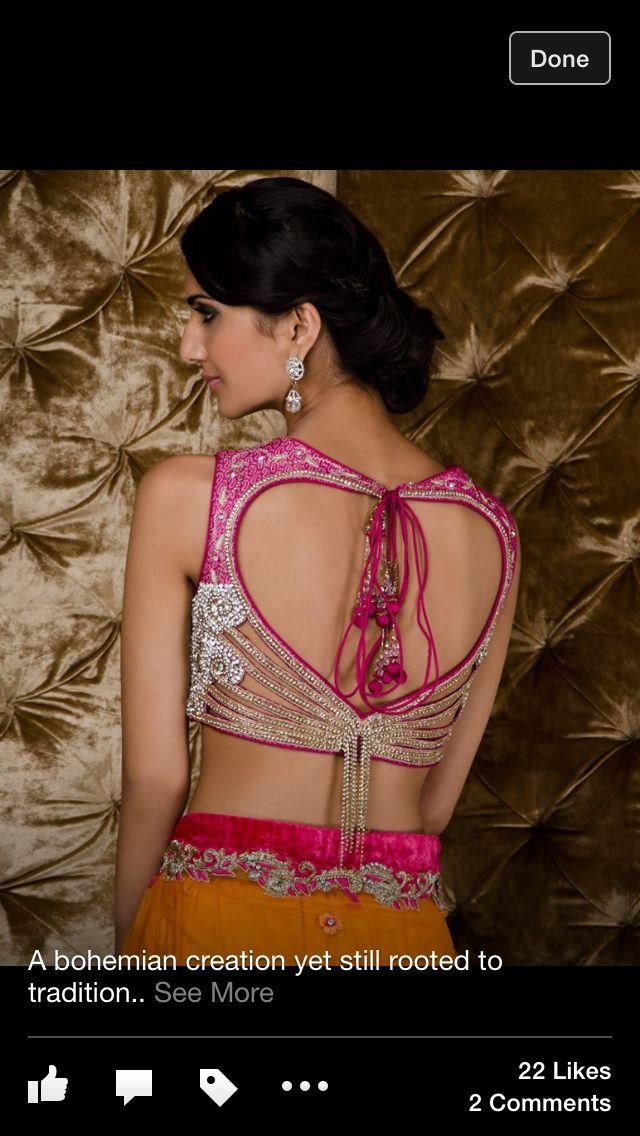 Heart shaped sari blouse. Love!