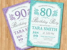 80th Birthday Invitation for women. Purple, Blue, any color. Adult birthday party. 70th 80th 90th any age. Printable Digital DIY.