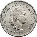 1911 SWITZERLAND Antique 5 Rappen Copper-Nickel Uncirculated Coin LIBERTY i55266
