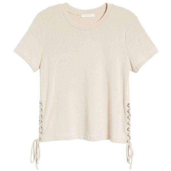 Women's Lace-Up Tee ($19) ❤ liked on Polyvore featuring tops, t-shirts, oxford tan, pink oxfords, tan t shirt, lush tops, lace up front top and lace up oxfords