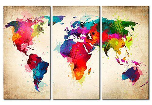 Cuadro 120x80 cm ! 3 tres colores a elegir - 3 Partes - Formato Grande - Impresion en calidad fotografica - Cuadro en lienzo tejido-no tejido - mapa del mundo k-A-0006-b-f 120x80 cm B&D XXL: Amazon.es: Hogar