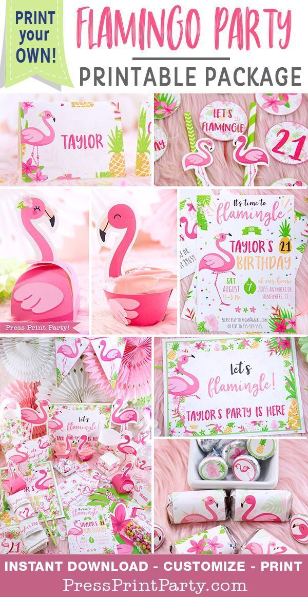 Flamingo Party Printable Package Press Print Party Flamingo Party Supplies Flamingo Themed Party Pink Flamingo Party
