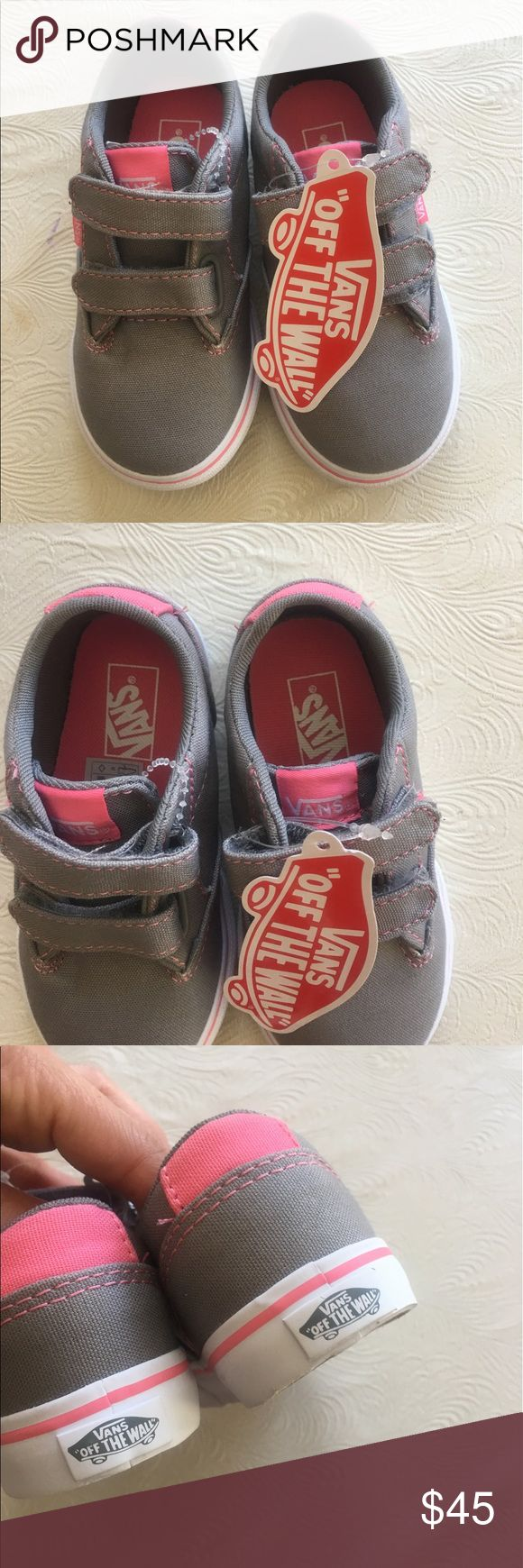 NEW toddler girls VANS Velcro straps sneakers New gray/pink Velcro straps sneakers by VANS. Really cute.0ffers welcome . Size 7 (#26) Vans Shoes Sneakers