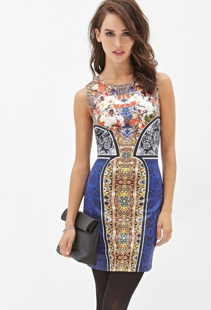 abstract-floral-bodycon-dress-party