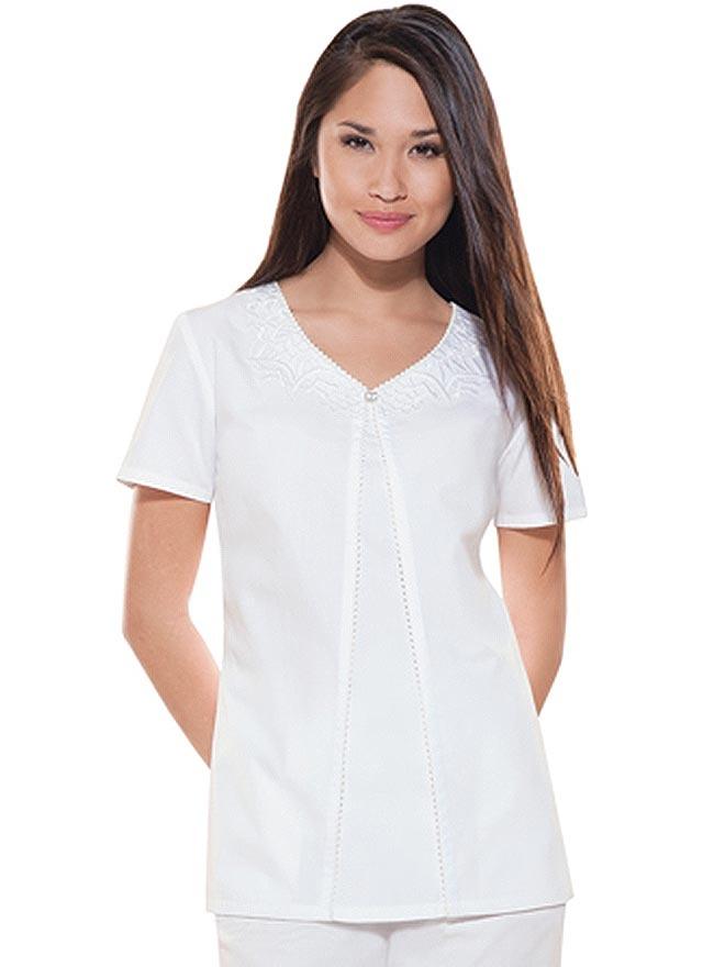 Look Elegant In This White Cherokee Womens Scrub Top The