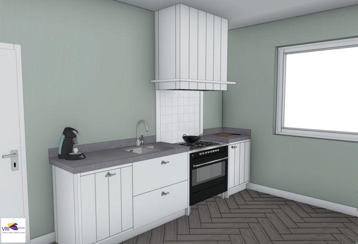 Landelijke moderne keuken met fornuis in 3d ontwerp monique van koppenhagen kleuren ral - Grijze kleur donkerder ...