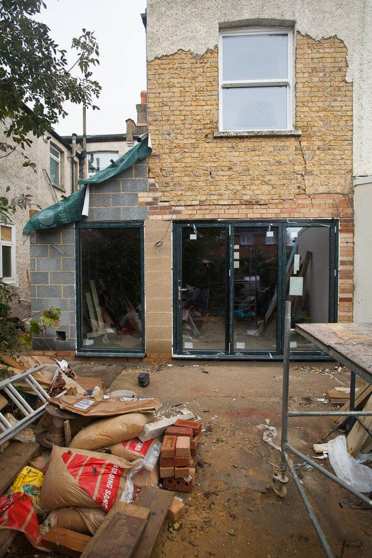 terraced house yard kitchen extension with post - Google Search