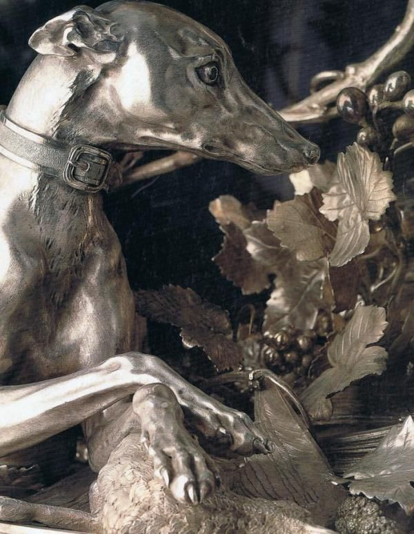 Detail of huge silver centerpiece celebrating the hunt…begun by Thomas Germain in 1730 and completed by his son Unless otherwise noted… House and Garden Nov. 1986 Leonor D'Orey and Michael  Teague  Photography Oberto Gili