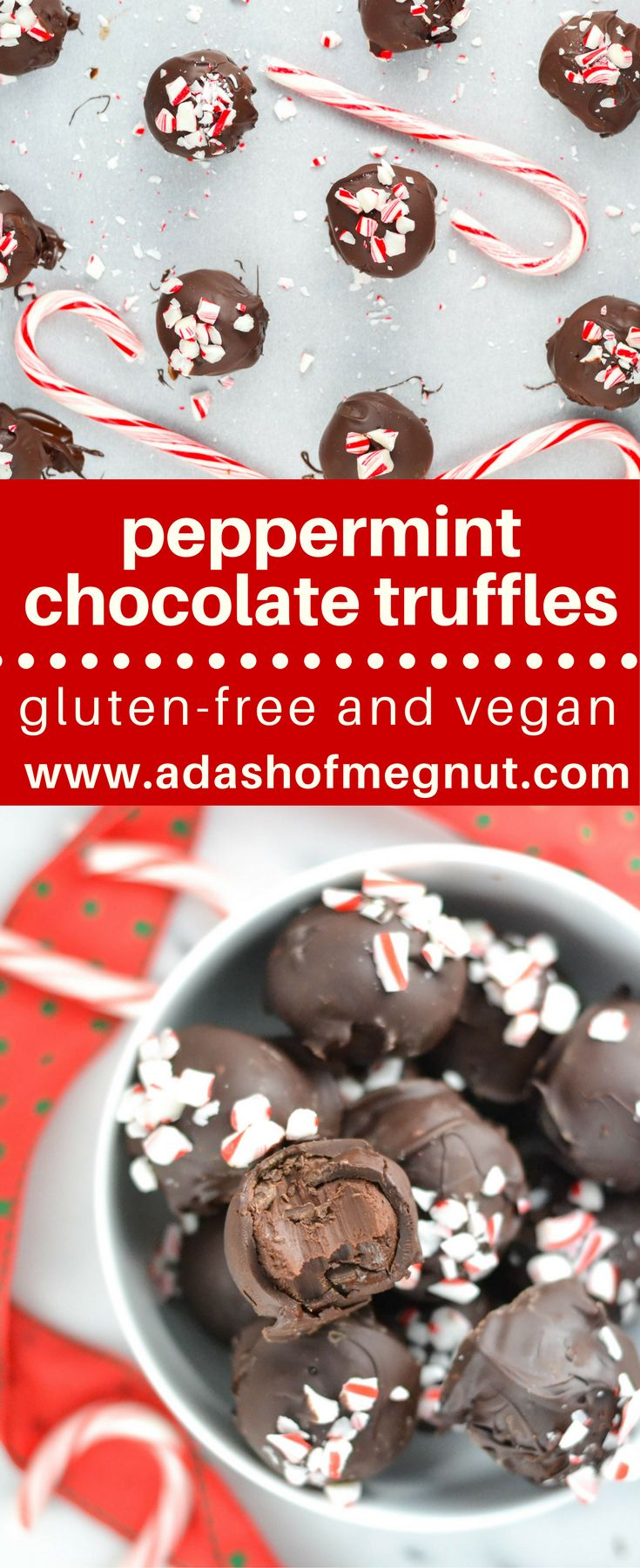 These gluten-free vegan peppermint chocolate truffles are the ultimate holiday dessert! They're made with just a few ingredients you can find in your pantry! #glutenfree #dairyfree #vegan #chocolate #christmas  via @adashofmegnut