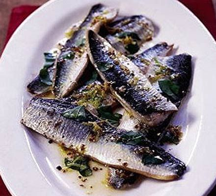 Grilled herrings with mustard & basil dressing recipe - Recipes - BBC Good Food