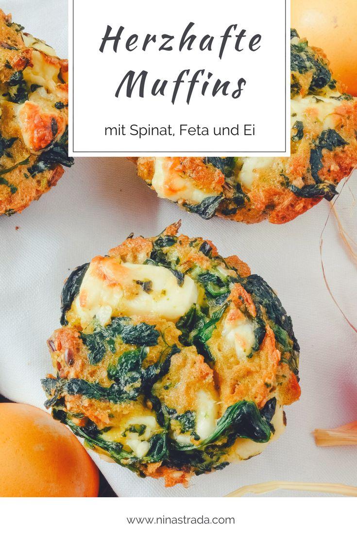 Herzhafte Muffins mit Spinat und Feta für das Osterfrühstück