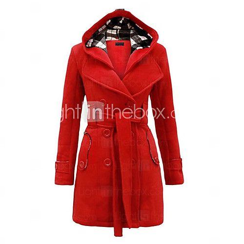manteau femmecouleur pleine dcontract quotidien grandes tailles simple manches longues bleu - Manteau Femme Color