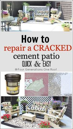 how to repair a cracked cement patio The patio was a mix of old red paint, gray original cement, cracks and holes. Can you say, mess?! After a good powerwashing and removing any loose cement, we added 23 gallons of the Concrete RESTORE.  The space is about 400 sq.ft. We bought the large 4 gallon buckets as well as the RESTORE roller.