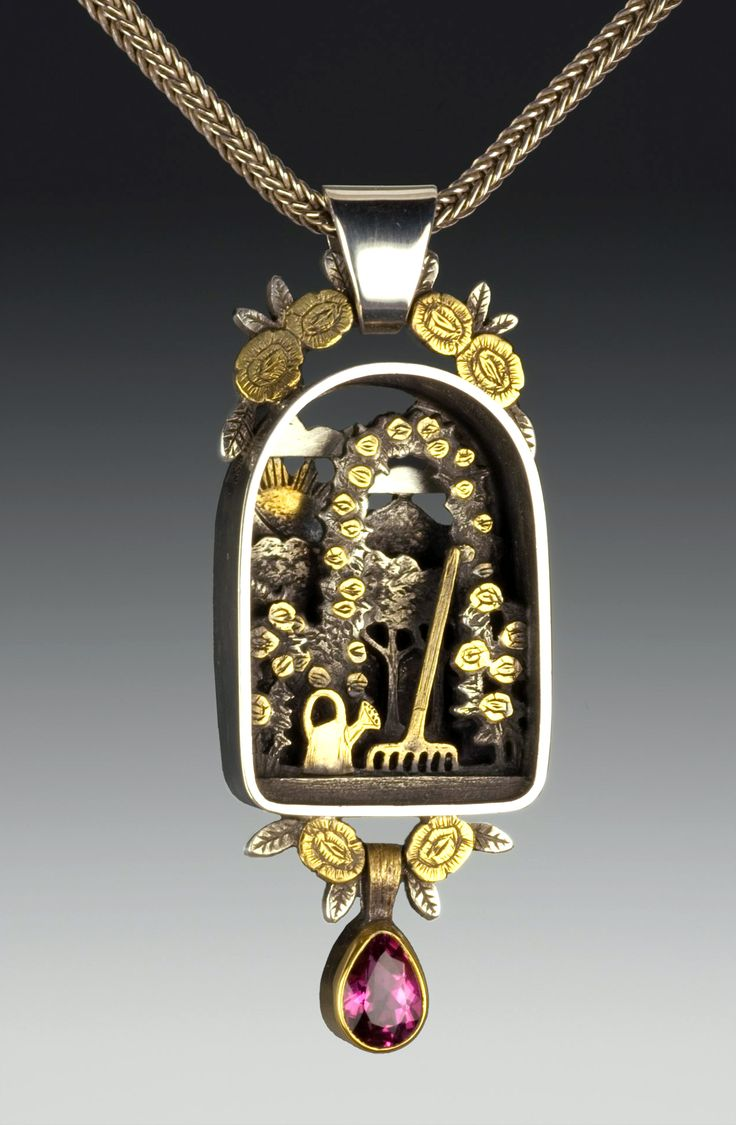 Garden pendant by Suzanne Williams///OMG! It's like a fairy house necklace! I bet no one's built a smaller one than that! So cute!