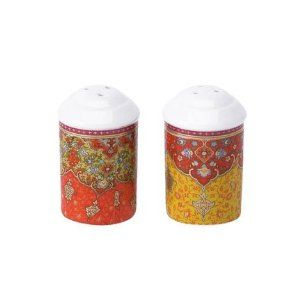 Deshoulieres Dhara Salt Shaker by Deshoulieres. $50.00. The richly hued Dhara dinnerware is inspired by the decorations of a 17th centry manuscript by Indian poet Saadi. The rich reds and golds are reminiscent of the beautiful saris of Punjab and Kashmir. The bright colors are contrasted with black that is found in traditional carpet weaving in India and the Middle East. Each dish is embellished with matte gold. Dishwasher safe; do not microwave. Five piece place setti...