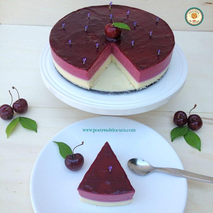 Tarta de cerezas y chocolate blanco sin horno
