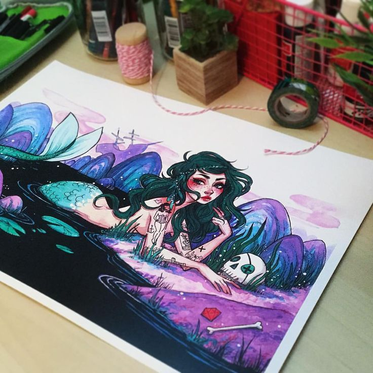 """I added a few mermaid posters to my shop! They are 11x17"""" prints on semi gloss 110 lb stock. Thank you sooo much to everyone who ordered a comic from my shop! They are sold out!! You guys are amazing  #illustration #mermaid #watercolor #art #artist #instaartist"""