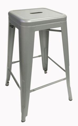 Silver Replica Tolix Stool 76cm