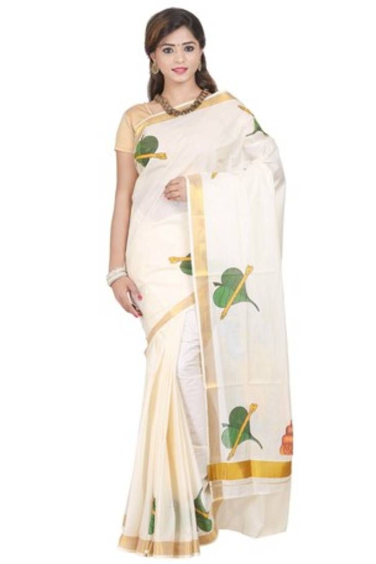 Shop Cream printed cotton saree with blouse at Mirraw. Avail 70% Off