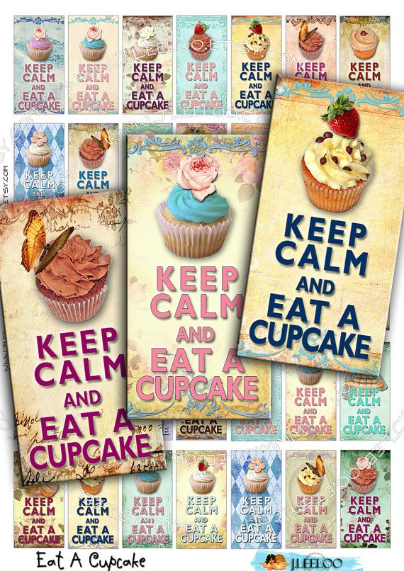 Instant Download - Digital collage sheet    EAT A CUPCAKE 1x2 inch printable download images for domino pendants magnets glass tiles / D117. $3.60, via Etsy.